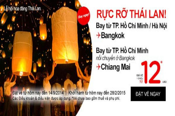 Air Asia khuyến mãi vé máy bay đi Bangkok giá chỉ từ 12 usd.