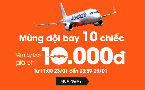 Jetstar khuyến mãi vé 10.000 đồng mừng đội bay 10 chiếc!