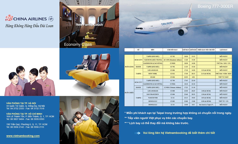 China Airlines khai thác tuyến bay thẳng TP. HCM – New York bằng Boeing 777-300ER
