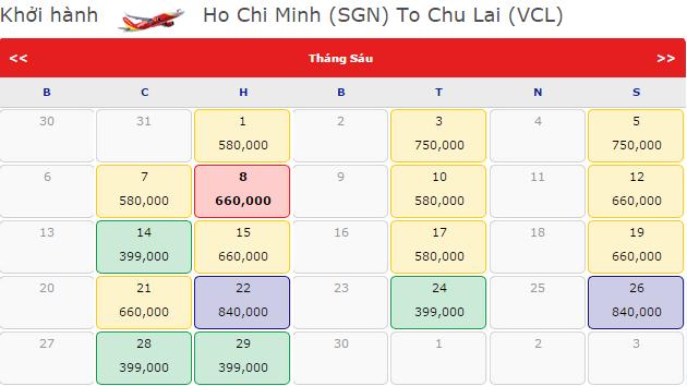 Vé máy bay đi Chu Lai hãng VietJet Air