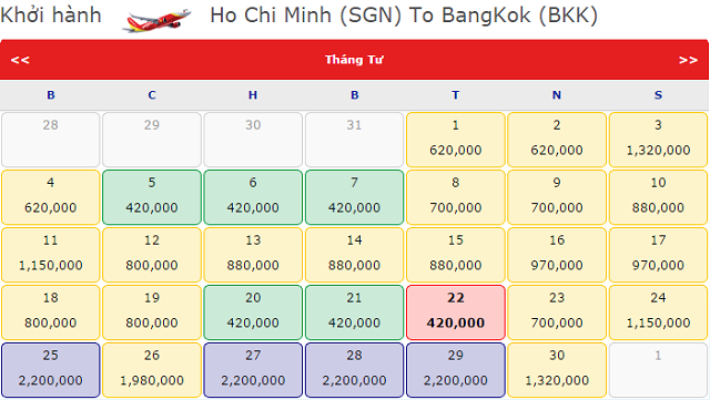 Vé máy bay đi BangKok giá rẻ