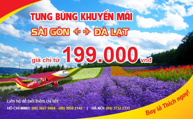 Vé máy bay Vietjet Air khuyến mãi chặng TP.HCM - Đà Lạt