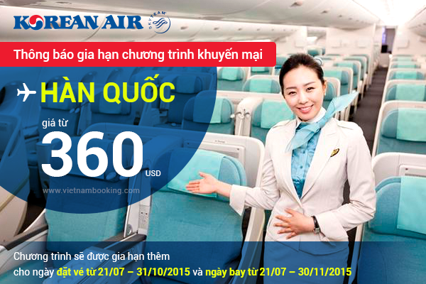 Giá vé máy bay đi Seoul khuyến mãi từ hãng Korean Air