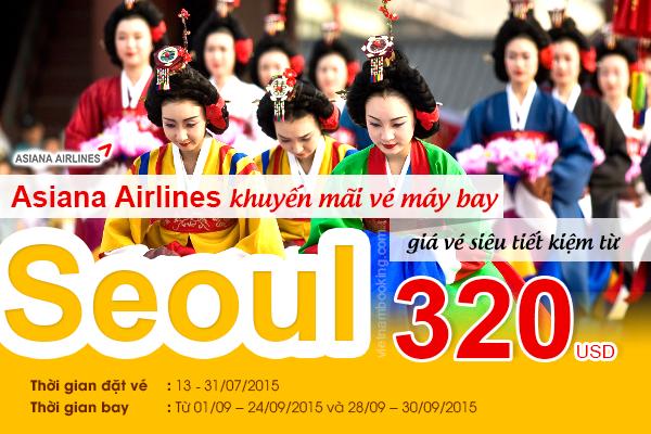 Đặt vé máy bay đi Hàn Quốc hãng Asiana Airlines