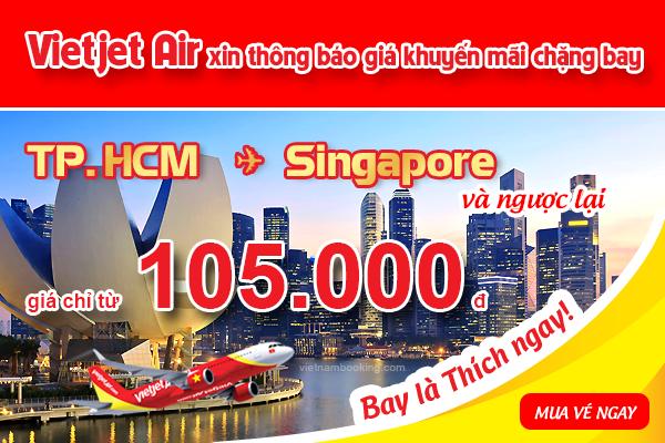 Đặt mua vé máy bay đi Singapore hãng VietJet Air giá rẻ