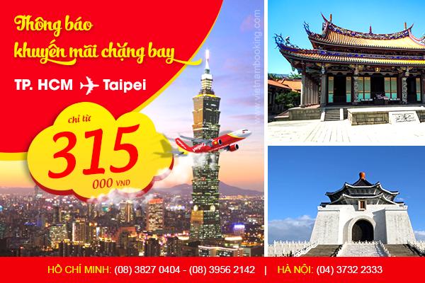 Giá vé máy bay rẻ nhất đi Đài Bắc hãng VietJet Air