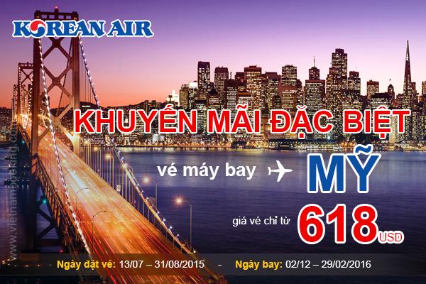 Đặt mua vé máy bay đi Mỹ hãng Korean Air