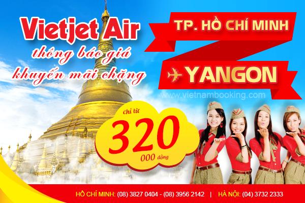 Mua vé máy bay đi Yangon hãng VietJet Air giá rẻ