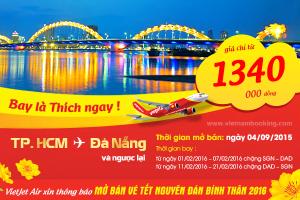 Vietjet Air: Vé máy bay chặng Đà Nẵng Tết 2016, từ 1.340.000 đồng