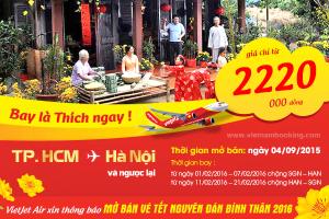 VietJet Air: Chặng Hà Nội – TP.HCM Tết 2016, chỉ từ 2.220.000 đồng