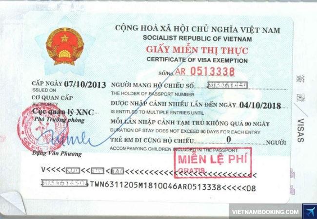 thông tin chung về miễn thị thực việt nam
