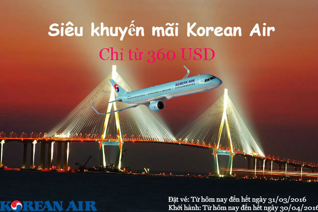 ve may bay khuyen mai korean air gia re