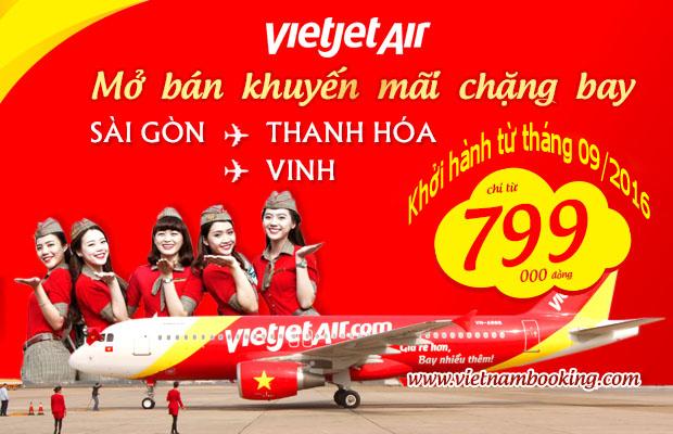 Vietjet Air: Mở bán loạt vé 799,000 đồng đi Vinh, Thanh Hóa