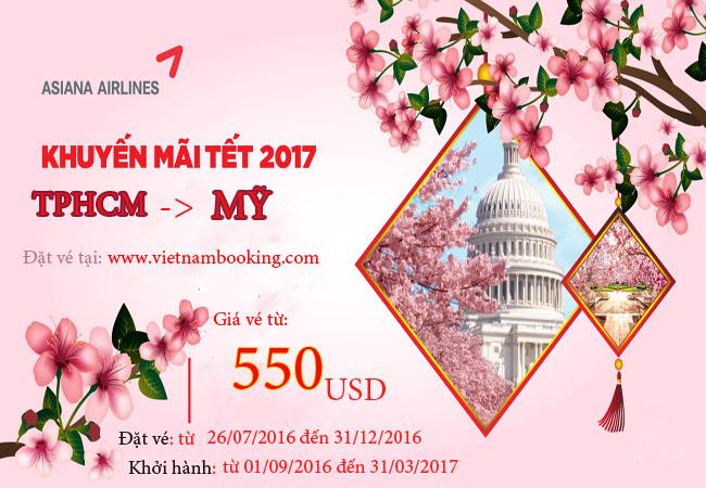 Asiana Airlines: Đón vé Tết 2017 đến Mỹ từ 550 USD