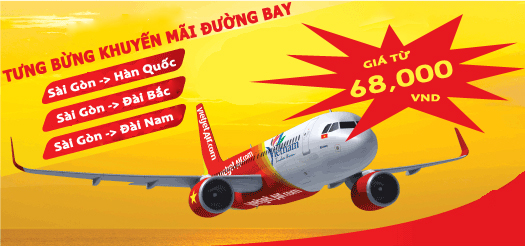 ve may bay khuyen mai vietjet air gia re