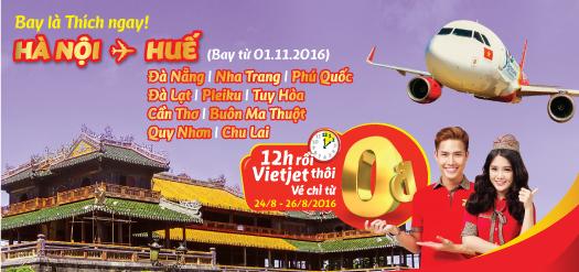 Vietjet Air: Khuyến mãi 0 đồng các chặng bay từ Hà Nội