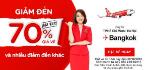 AirAsia giảm ngay 70% giá vé các điểm đến!