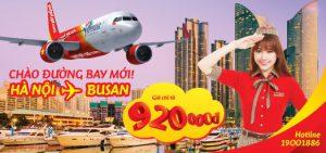 Vietjet Air: Thông báo mở đường bay mới Hà Nội – Busan