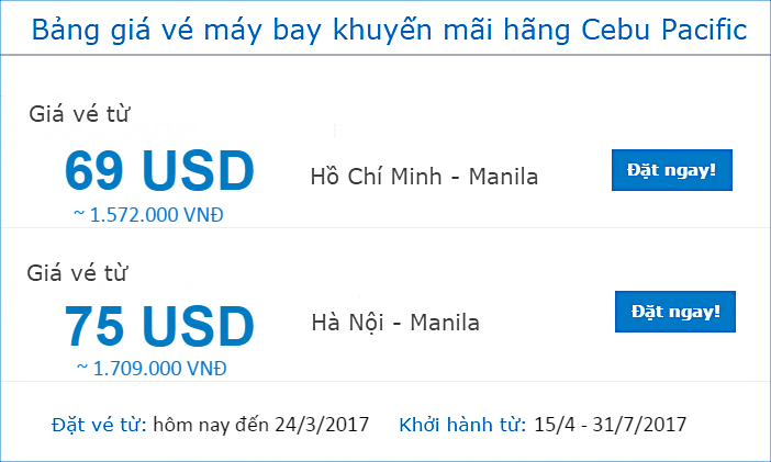 bang gia ve cebu pacific