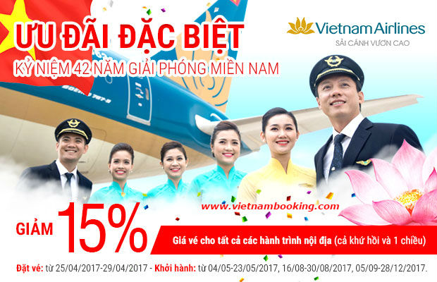 Vietnam Airlines giảm 15% giá vé các chuyến bay!