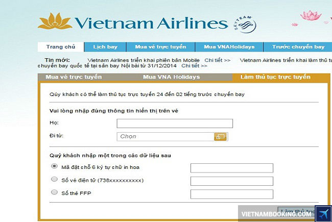 check ve may bay vietnam airlines