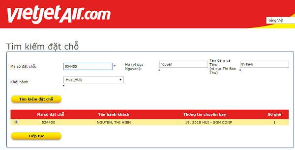 hướng dẫn quý khách kiểm tra code vé máy bay Vietjet Air