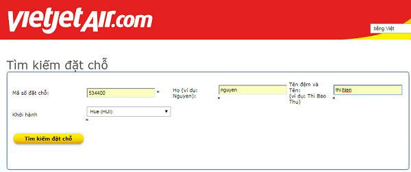 hướng dẫn kiểm tra code vé máy bay hãng Vietjet Air