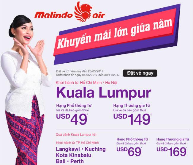 Malindo Air tưng bừng khuyến mãi lớn giữa năm