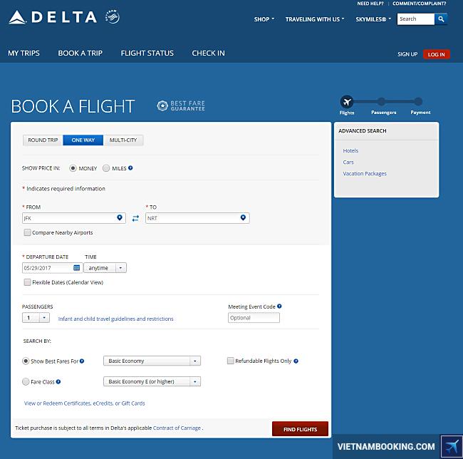 tim lich bay delta airlines