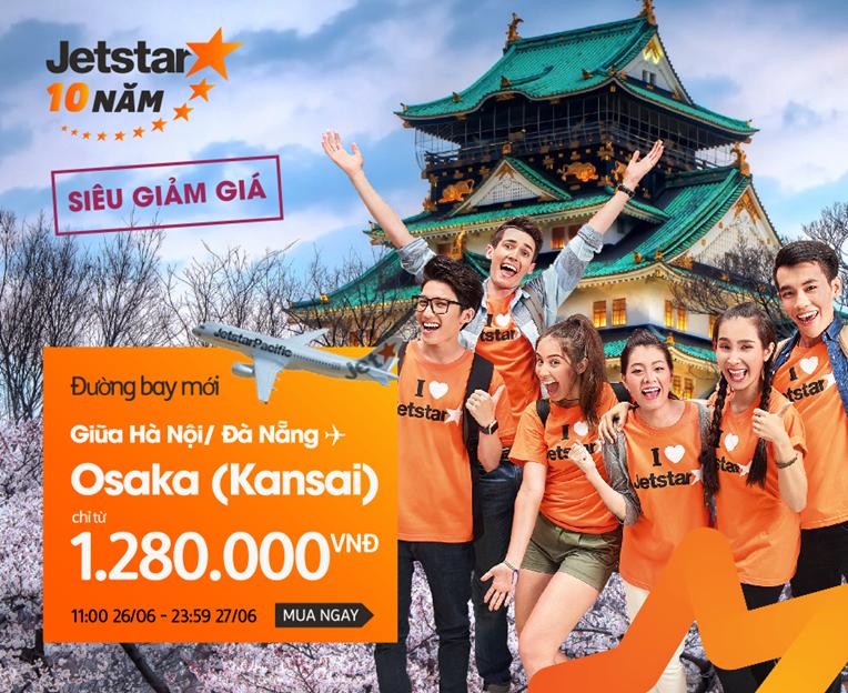 Jetstar: Khuyến mãi đường bay mới Hà Nội/Đà Nẵng – Osaka