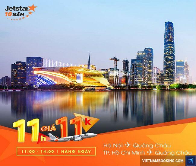 Siêu khuyến mãi vé Jetstar 11.000đ đi Quảng Châu