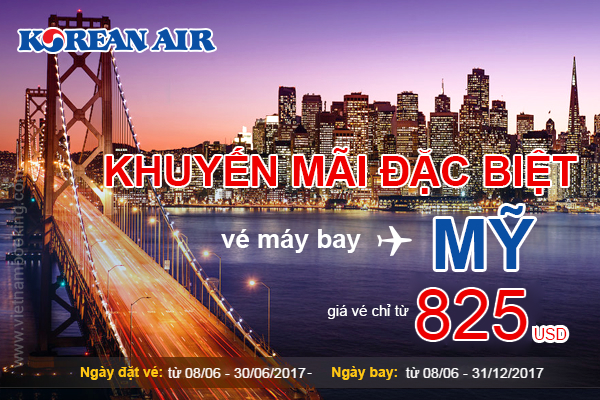 khuyen mai ve may bay di my korean air