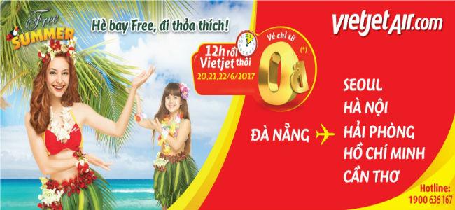 Vietjet Air: Hè bay Free, đi thỏa thích với giá vé 0đ