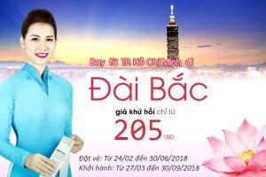 Vé Vietnam Airlines khứ hồi 205 USD, bay Đài Bắc thả ga
