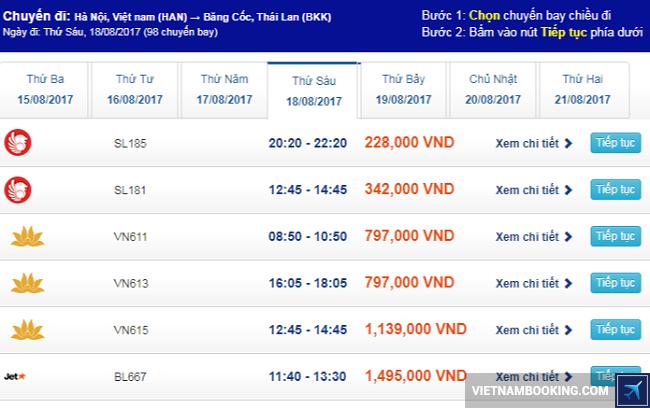 Hiện nay tại đại lý vé máy bay Vietnam Booking đang bán ra loạt vé máy bay từ Hà Nội đi Bangkok chỉ 228.000đ của Thai Lion Air. Những tấm vé máy bay giá siêu tiết kiệm này được phân bố đều khắp các ngày trong tháng 8 và cuối tháng 7 để bạn có thể dễ dàng lựa chọn ngay bay hợp lý nhất. Hãy nhanh tay liên hệ Vietnam Booking để đặt ngay tấm vé máy bay giá rẻ đi Bangkok này nhé.