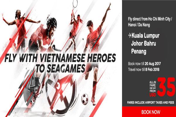 Đến Sea Games cùng tuyển Việt Nam với vé rẻ Air Asia