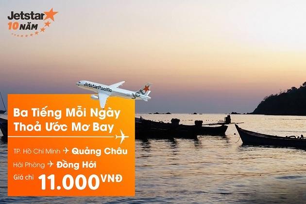 Jetstar tung vé đi Đồng Hới/ Quảng Châu chỉ 11.000 đồng