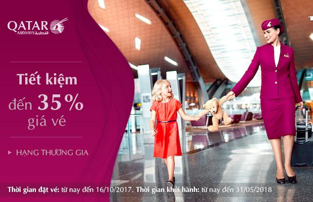 Qatar Airways: Bay hạng Thương Gia giá vé hấp dẫn