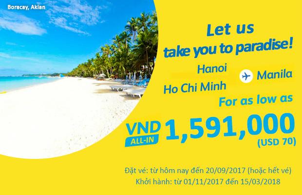 Cebu Pacific tung vé 70 USD, thỏa thích du lịch Manila!