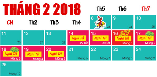 lịch nghỉ tết nguyên đán mậu tuất 2018