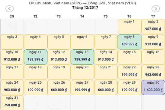 Giá vé máy bay từ Sài Gòn về Đồng Hới
