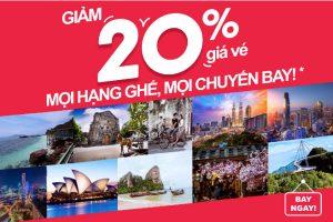 AirAsia khuyến mãi: Giảm ngay 20% giá vé mọi hạng ghế, mọi chuyến bay