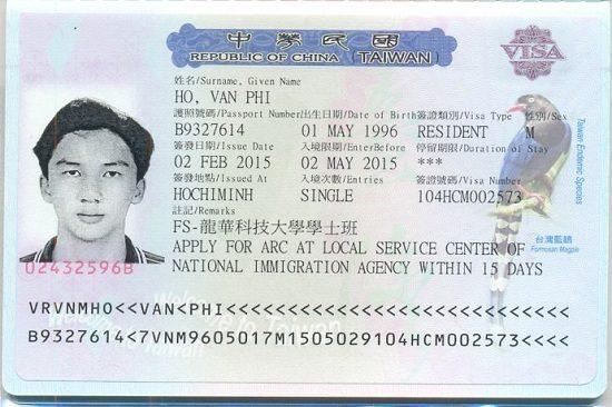 thị thực đi đài loan