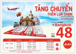 AirAsia tăng suất bay Đà Nẵng – Bangkok chỉ từ 48 USD