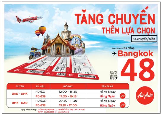 AirAsia tăng suất bay Đà Nẵng – Bangkok