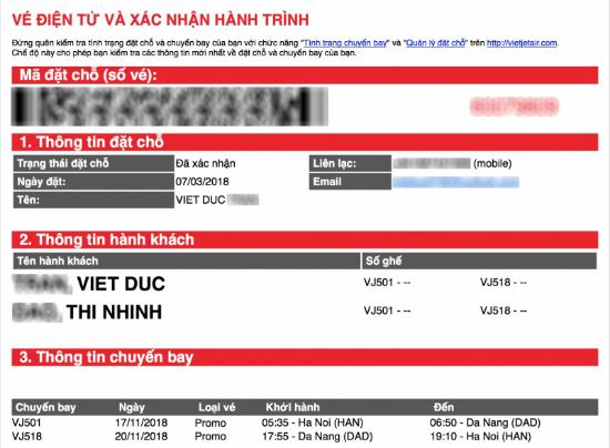 Hạng vé promo của Vietjet Air
