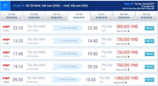 Vé máy bay Vietjet Air TPHCM đi Huế có giá bao nhiêu?