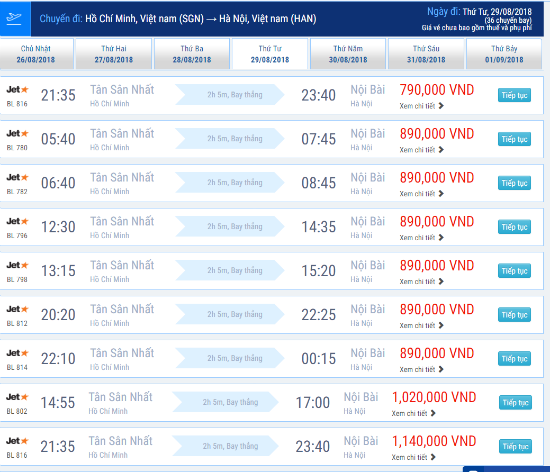 Giá vé máy bay Sài Gòn đi Hà Nội hãng Jetstar tháng 8/2018