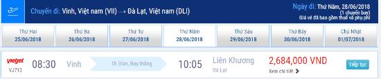 Vé máy bay từ Vinh đi Đà Lạt: