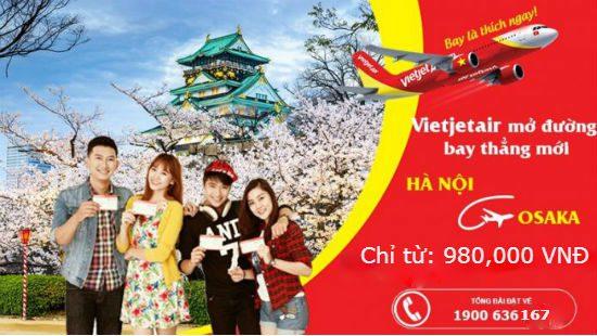 Mừng đường bay mới Hà Nội – Osaka Vietjet Air tung giá rẻ từ 980,000 VNĐ